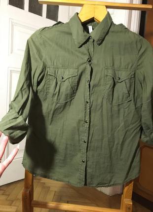 Милитари натуральная рубашка