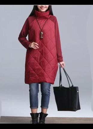 Модна стегана куртка вітровка з трикотажними рукавами, р.58-60