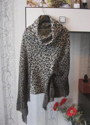 Пончо шарф хомут леопард бахрома любой размер