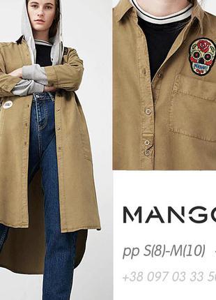 Рубашка-миди хаки с вышивкой, милитари, oversize, оригинал mango s-8-44, м-10-46, l-12-48