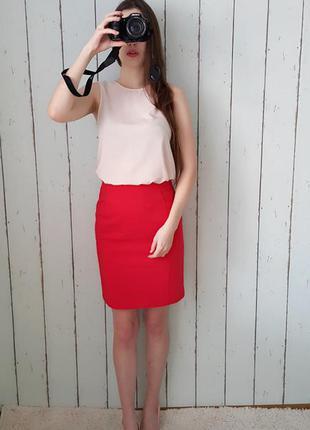 Красная качественная юбка h&m