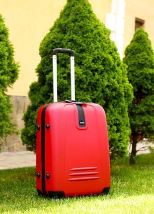 🔥лучшая цена! средний пластиковый чемодан красный валіза середня пластикова червона