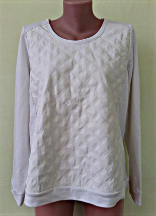 Брендовый мужской свитшот реглан кофта с кожаной вставкой белого цвета от esmara