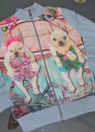 Теплая кофта 2 года молния начес собачки турция
