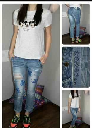 Стилевые модные джинсы с принтом мики-маус, размер s- xs