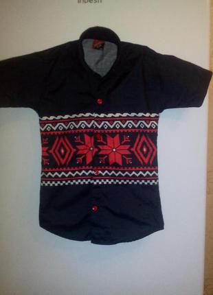 Рубашка под иметацию вышыванки до 3 лет