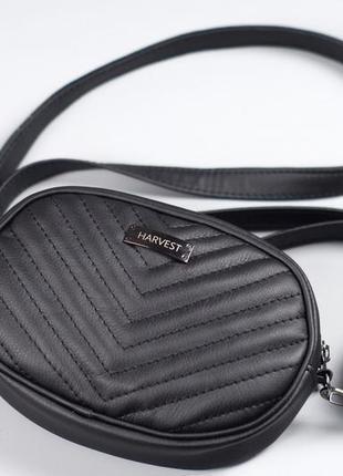 Черная поясная сумка, стеганая сумка на пояс с двумя ремешками