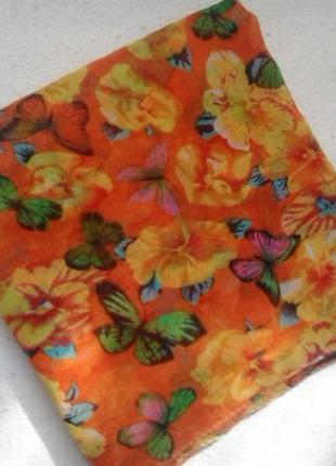 Парео-платок с бабочками