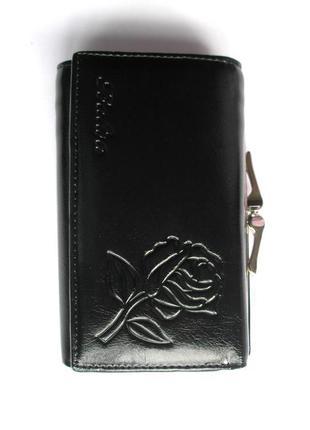 Кожаный кошелек портмоне черная роза, 100% натуральная кожа, доставка бесплатно.
