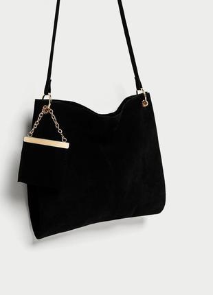 Замшевая сумка -мешок с подвеской-кошельком zara