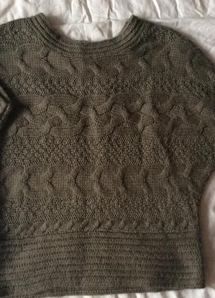 Тёплый свитер объёмный с косами летучая мышь