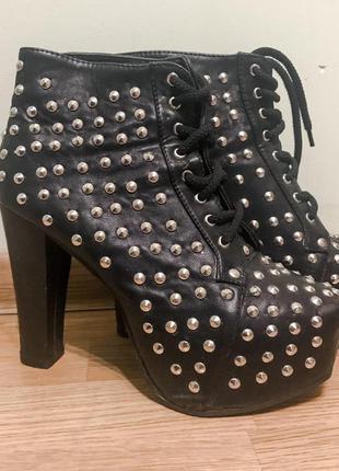 Кожаные ботинки {ботильоны/сапоги}