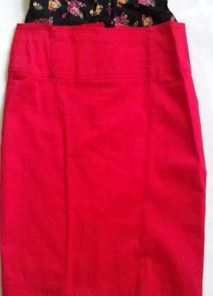 Красная юбка с завышенной талией new look