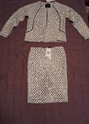 Деловой костюм из рельефного трикотажа