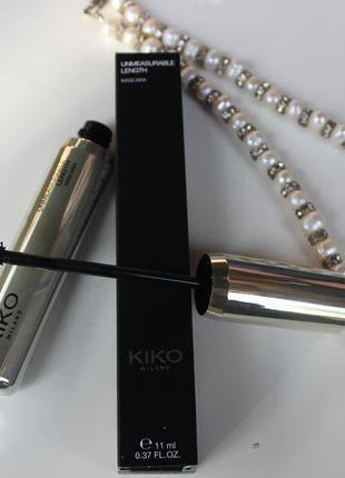 Удлиняющая тушь от kiko milano unmeasurable length mascara