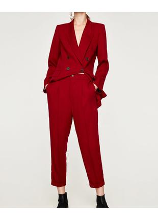 , пиджак жакет марсала брючный костюм бордовый красный zara мужскогого кроя