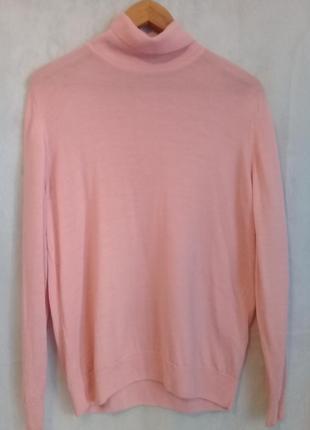 Нежно-розовый свитер гольф водолазка шерсть р. oversize от m&s