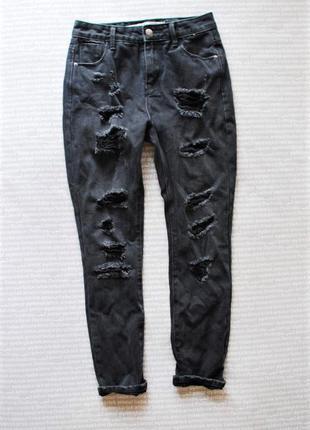 Джинсы мам mom jeans высокая посадка рваные черные купить цена