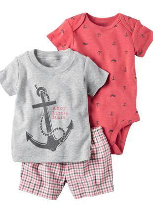 Комплект 3-ка на мальчика (боди, футболка, шорты) carter's