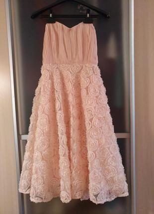 Шикарное нежное платье  пудрового цвета, италия,эксклюзив