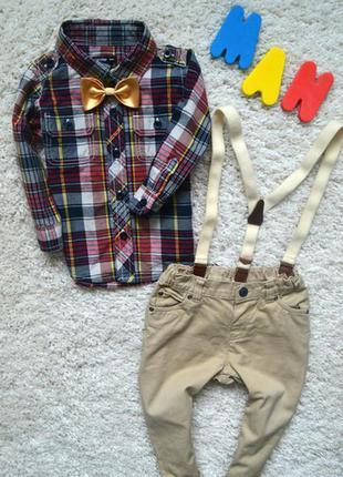 Комплект, костюм джентельмена, джинсы с подтяжками и рубашка в клетку