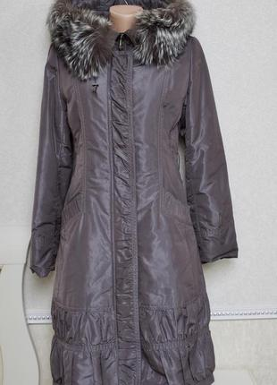 Качественное пальто осень-зима,пуховик подстежка мех кролика