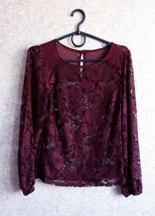 Кружевная ажурная блуза цвета марсала