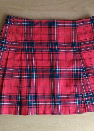 Новая юбка мини, весна лето осень, клетка, складки, разрез, размер m s