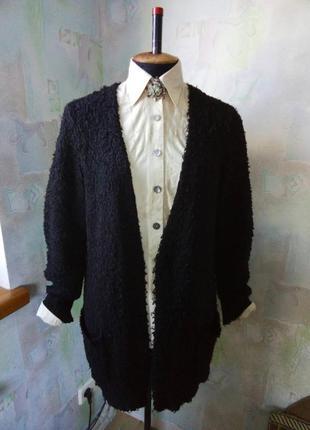 Черный кардиган букле на запах,кофта,жакет,пиджак,oversize,джемпер,травка..