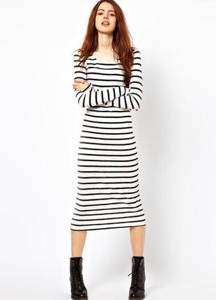 Плаття міді в рубчик в полоску selected femme