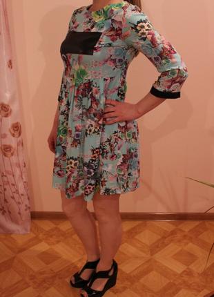 Платье со вставками экокожи