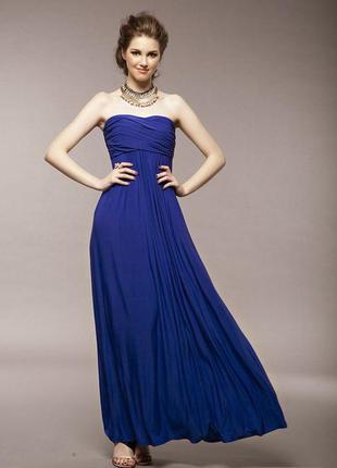 Платье новогоднее вечернее выпускной с открытыми плечами длинное в пол для высоких синий
