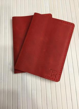 Обкладинка на паспорт червона з натуральної шкіри, hand made;обложка на паспорт1