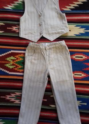 Полосатый джинсовый костюмчик (брюки и жилет)