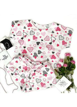 Хлопковая пижама, футболка и шорты, комплект для сна с сердечками