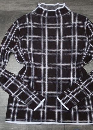 Стильный бордовый свитер оверсайз в клетку - m/l