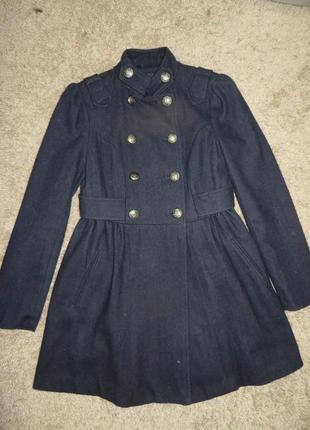 Пальто темно-синє amisu 34 розмір