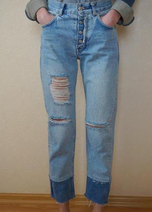 Штаны джинсы рваные с высокой посадкой pull&bear