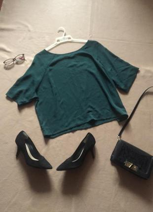 Легкая блузка разлетайка бутылочного цвета new look