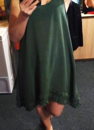 Классное брендовое шифоновое платье майка, размер 14 - 16
