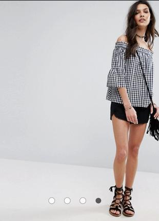 Новая блуза со спущенными плечиками и объемным рукавом new look 8р
