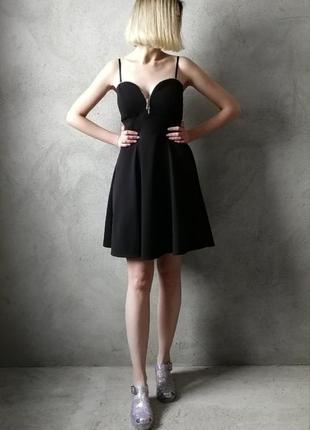 Красивое вечернее чёрное платье с замочком new look