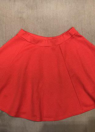 Красная клешная юбка river island
