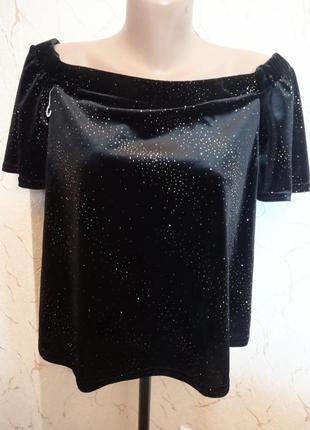 Бархатная блуза с открытыми плечами new look