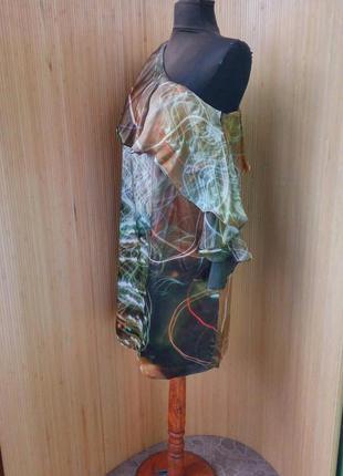 Платье натуральный шелк с баской на одно плечо s/m2