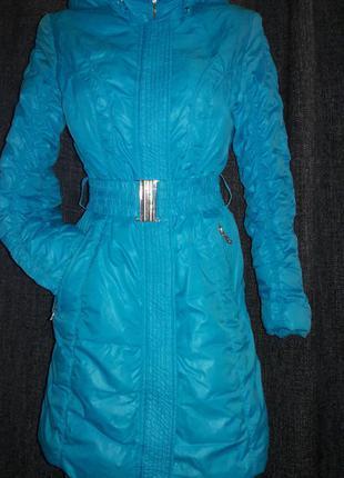 Пуховик лазурно-голубого  цвета snowimage