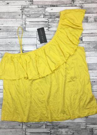Яркий хлопковый трикотажный топ с воланом, майка, футболка на одно плечо, блуза,