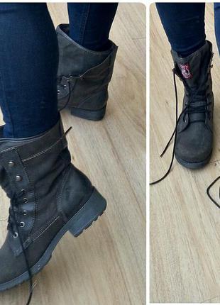 Замша,кожа!40р новые гемания s. oliver ботинки,милитари,серые