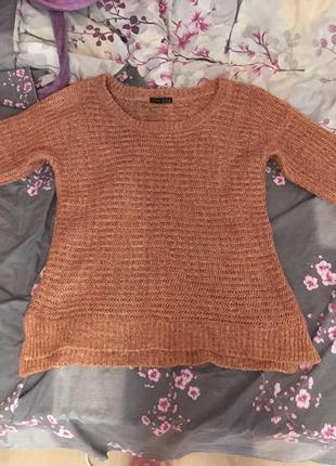 Свитер зимний теплый длинный крупная вязка пуловер джемпер персиковый розовый шерсть
