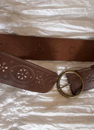 Ремень пояс коричневый кожаный широкий next р-р m